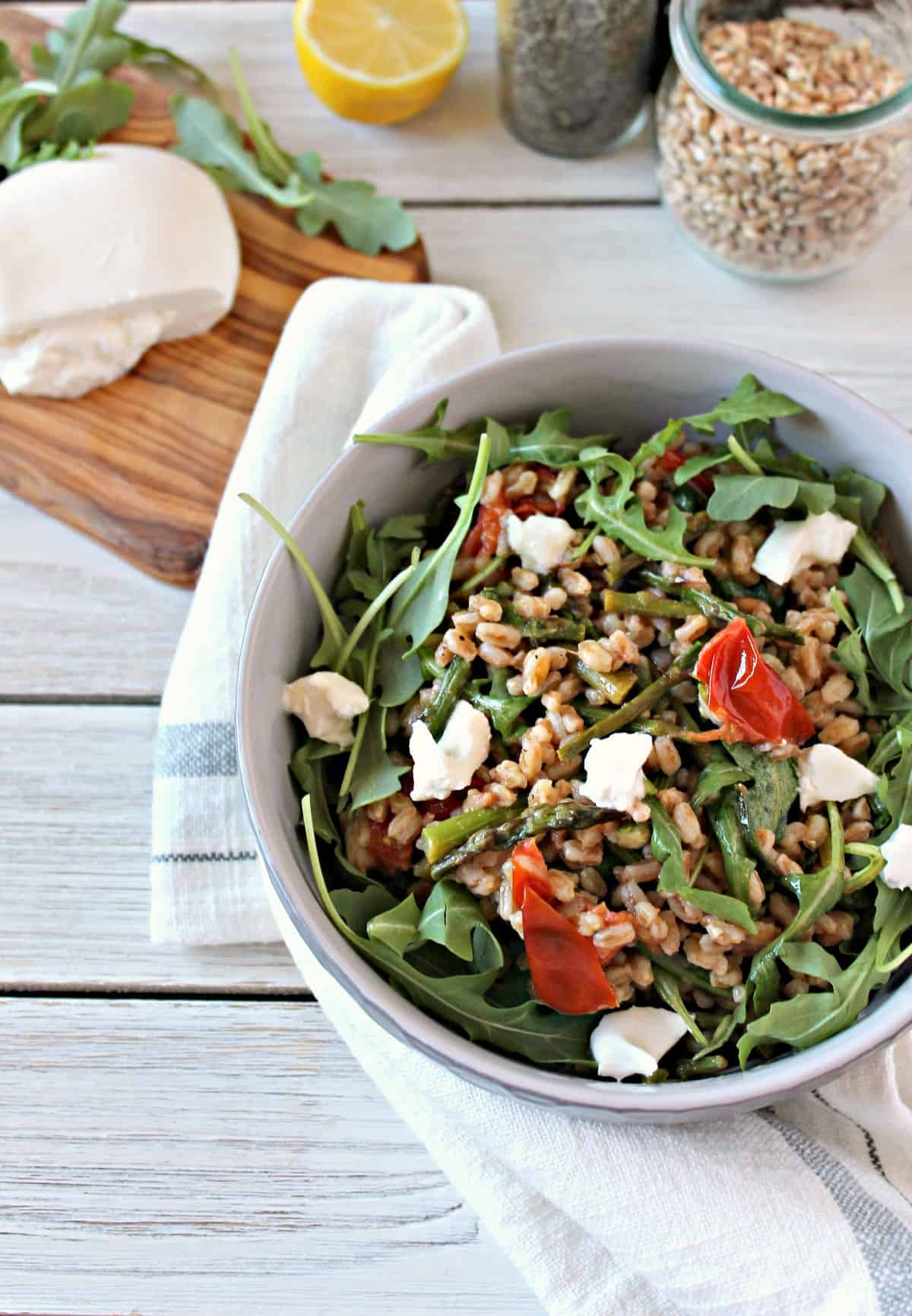 A fresh and light Springtime Farro Salad is a great, healthy lunch that's filling and delicious