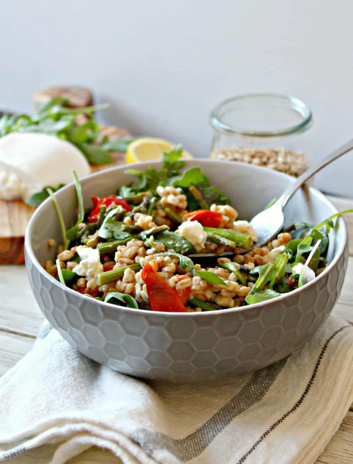 This simple Springtime Farro Salad is so fresh, light, and filling, perfect for a light lunch
