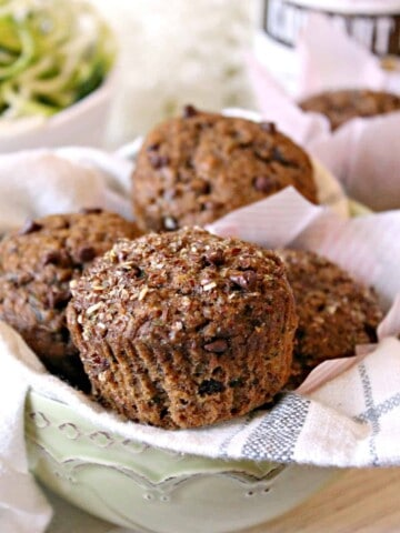 Healthy Zucchini Superfruit Muffins! You won't believe these muffins make a healthy addition to breakfast and brunch by tasting them, but they're bursting with wholesome ingredients! Sweetened with coconut sugar and fortified with flax, superfruits and zucchini, they're a muffin you'll want to make again and again.