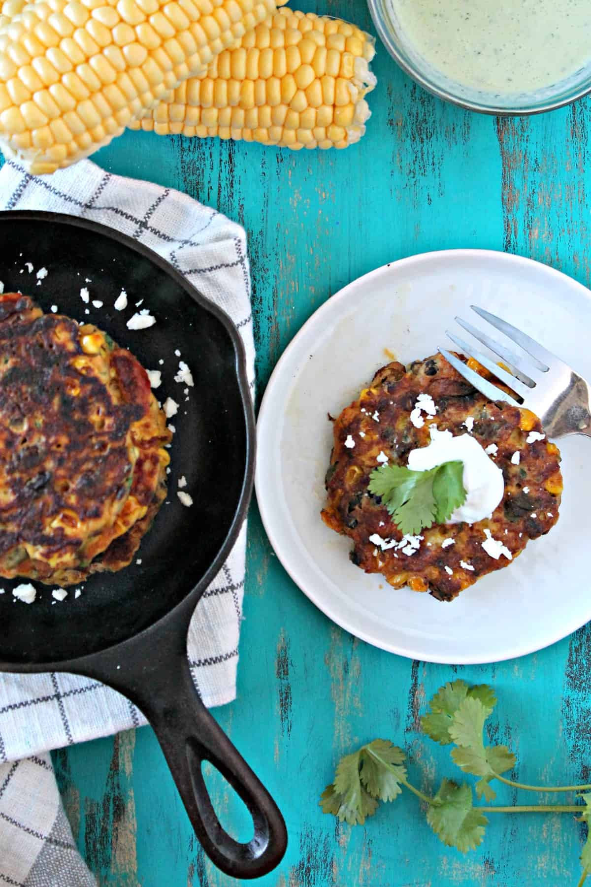 Sweet corn and black bean fritters are a simple recipe that's packed with flavor and spices