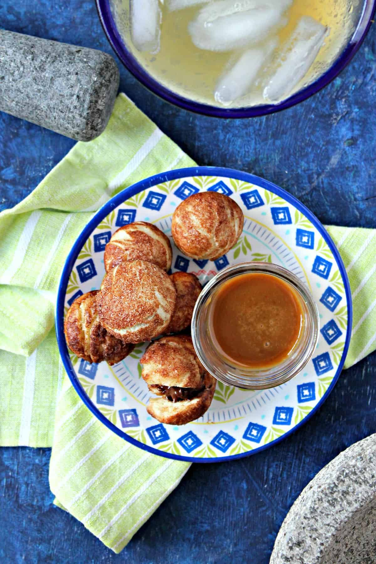 Dip these sweet churro balls in the sweet homemade caramel sauce