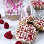 Raspberry Shortbread Cookies with White Chocolate Drizzle