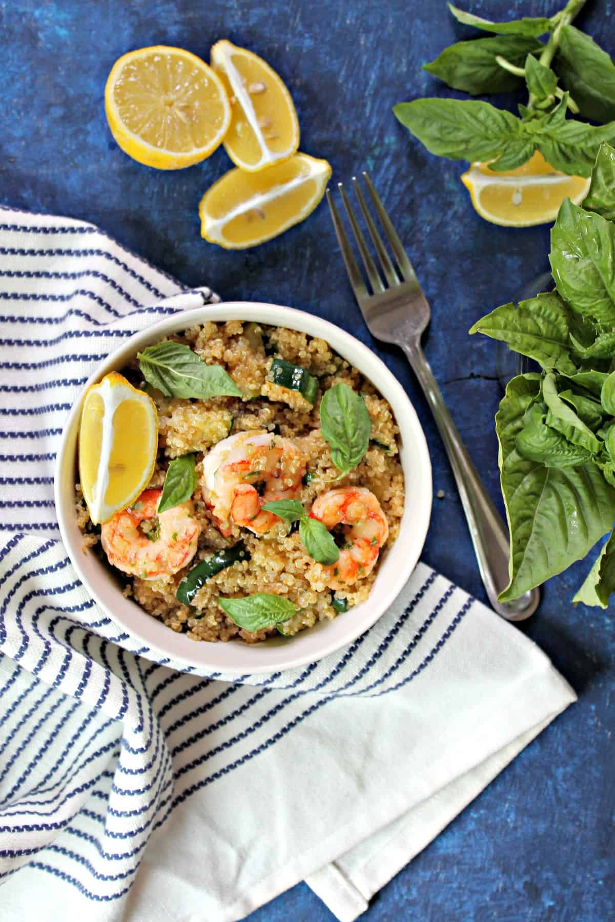 Lemon Basil Shrimp over a bed of quinoa is a deliciously simple and healthy lunch or dinner that's great for busy days