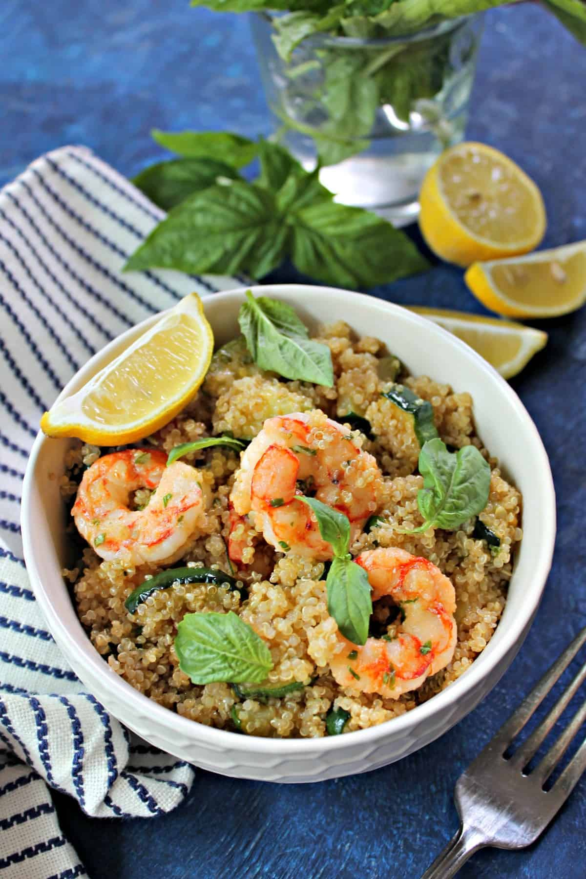 Lemon Basil Shrimp & Quinoa is a light and refreshing meal that's perfect for lunch or dinner
