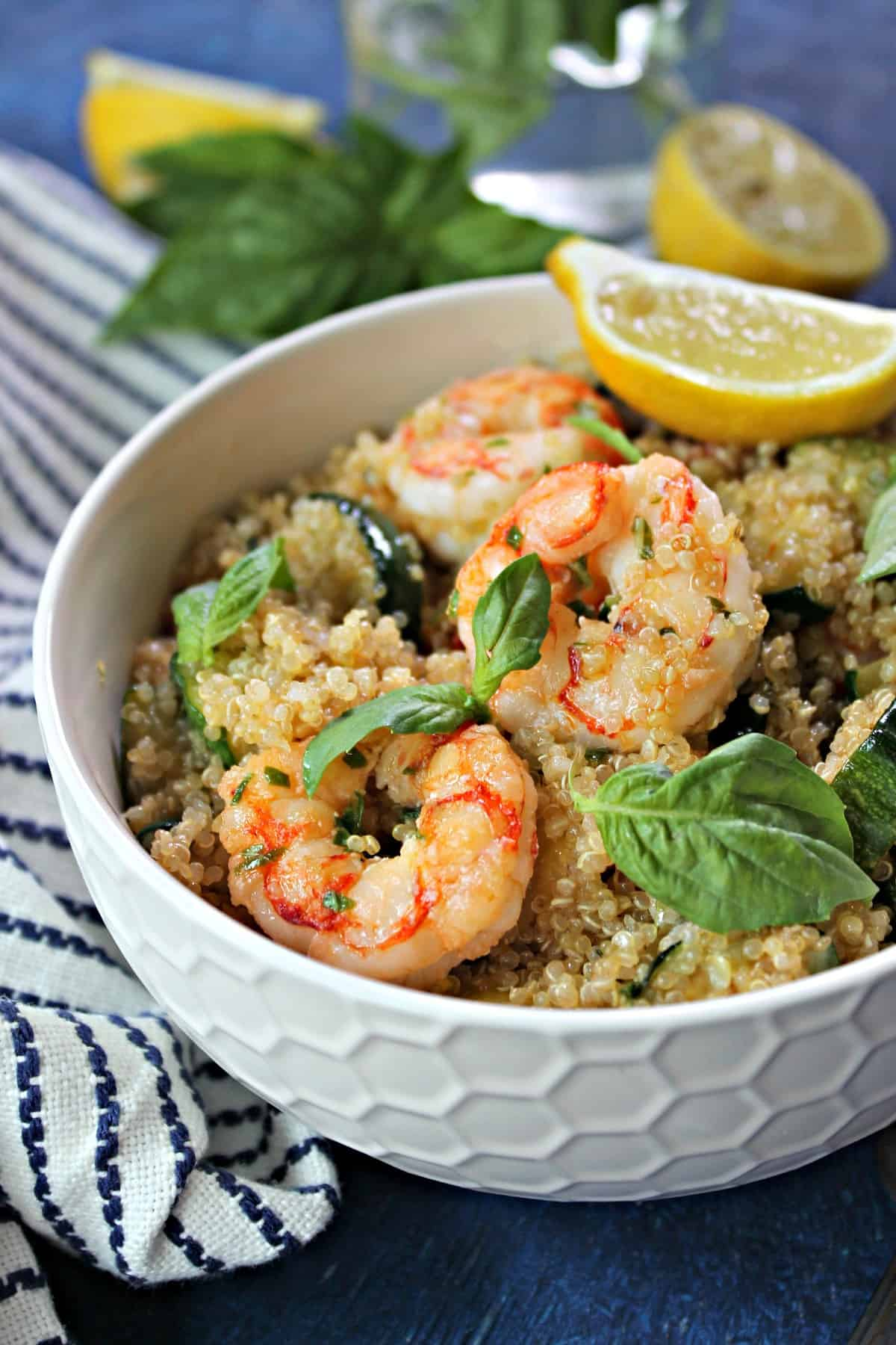 Tender Lemon basil shrimp and quinoa is a light yet filling meal that's perfect for a busy day's lunch or dinner