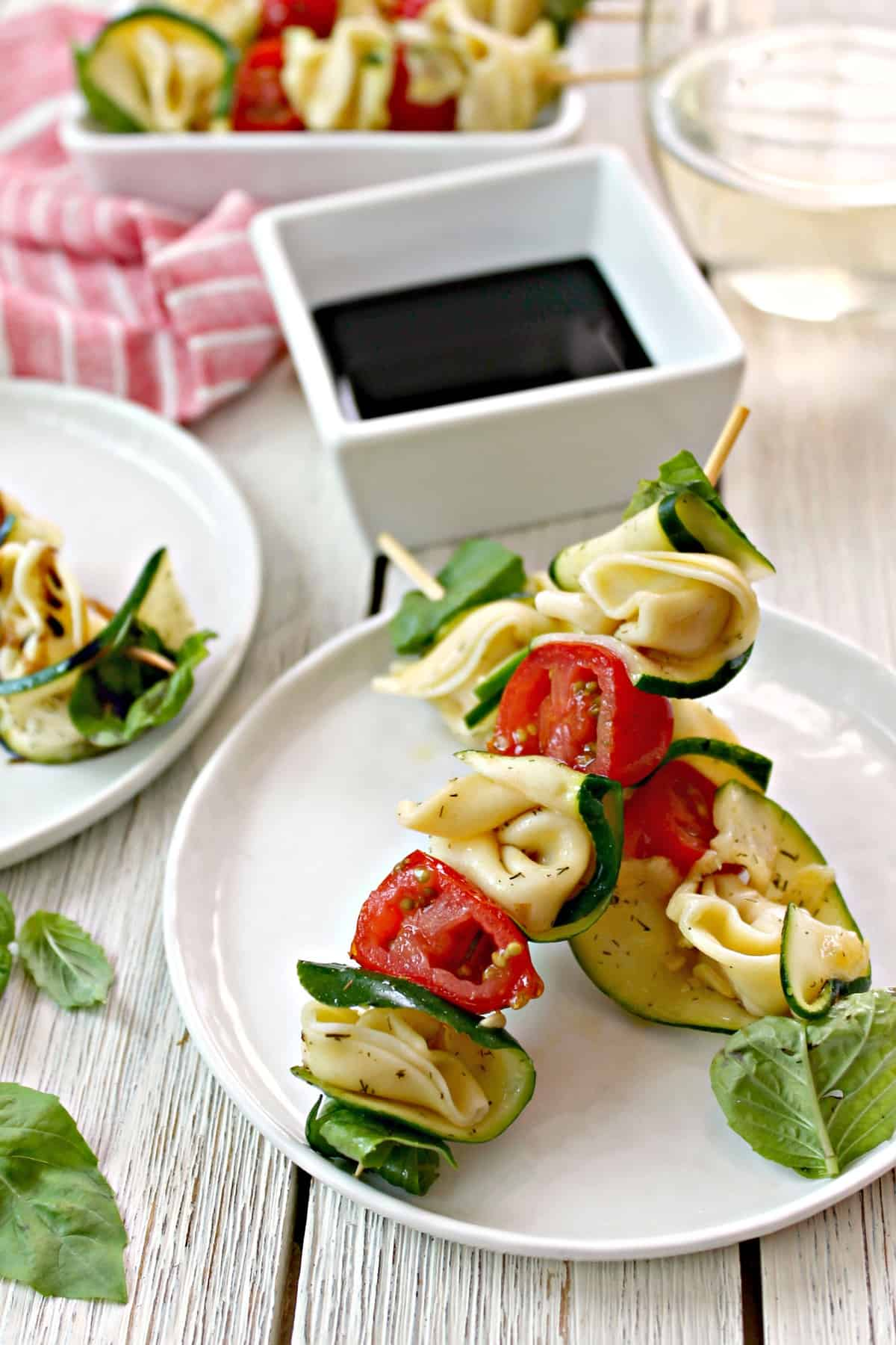 These delicious Zucchini & Tortellini Skewers are simple, fresh appetizers that are perfect for a party