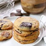 Salted Chocolate Chip Cookies! These crispy chewy chocolate chip cookies from Chef Dan Kluger are made with chocolate wafers instead of chips, making for gobs of chocolatey goodness with each bite. Add them to your chocolate chip cookie repertoire!