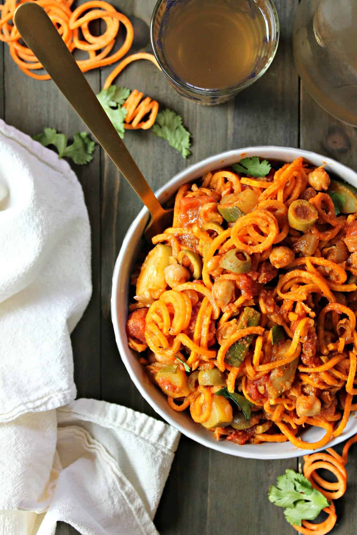 This sweet potato noodle skillet is a healthy, flavorful dinner that's bursting with exotic Moroccan spices