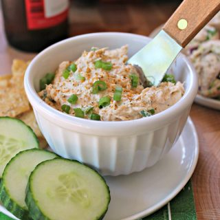 Cajun Salmon Spread! This creamy Cajun-spiced salmon spread makes a great cracker topper for game day or any party! A wonderful recipeto make if you're looking to add something new and different to the typical party snack menu. Bonus: It takes minutes to make!