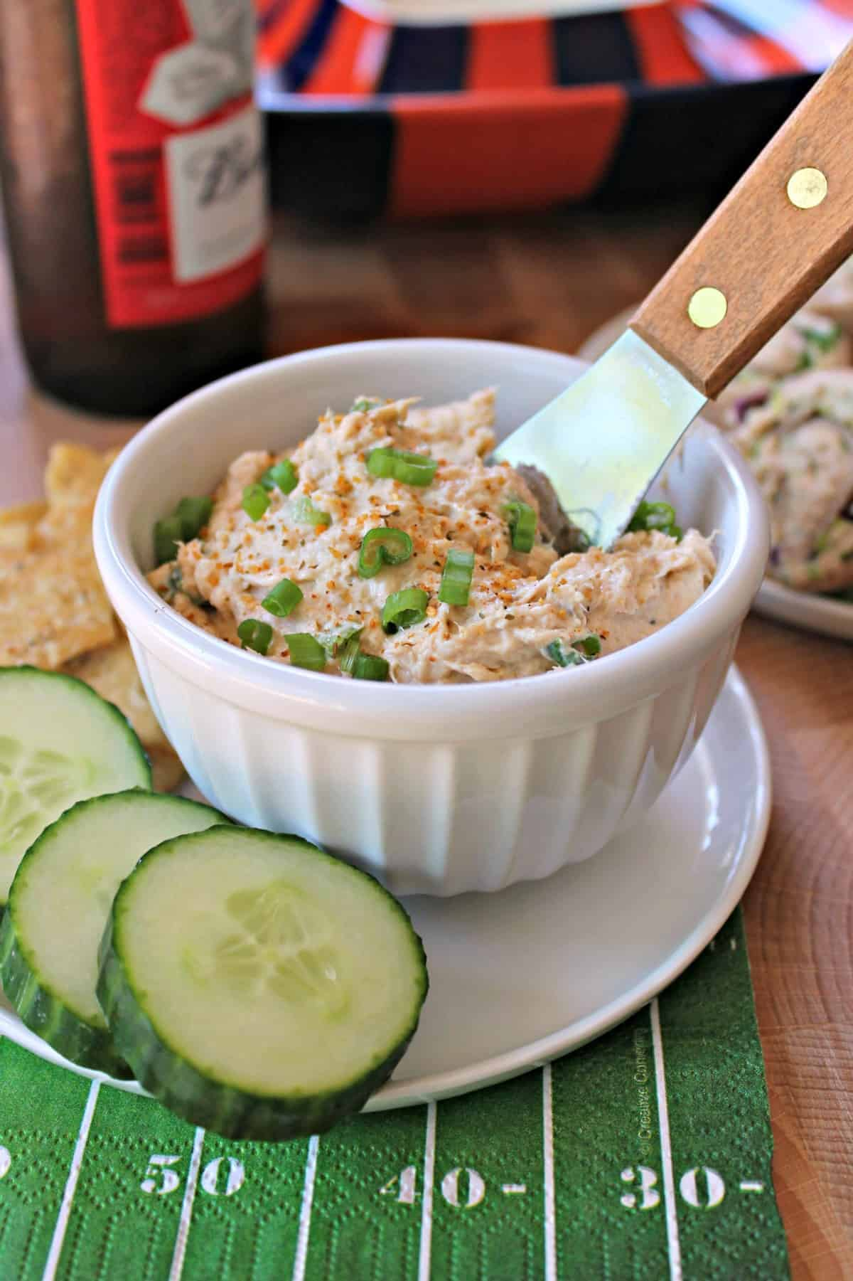 Cajun Salmon Spread! This creamy Cajun-spiced salmon spread makes a great cracker topper for game day or any party! A wonderful recipe to make if you're looking to add something new and different to the typical party snack menu. Bonus: It takes minutes to make!