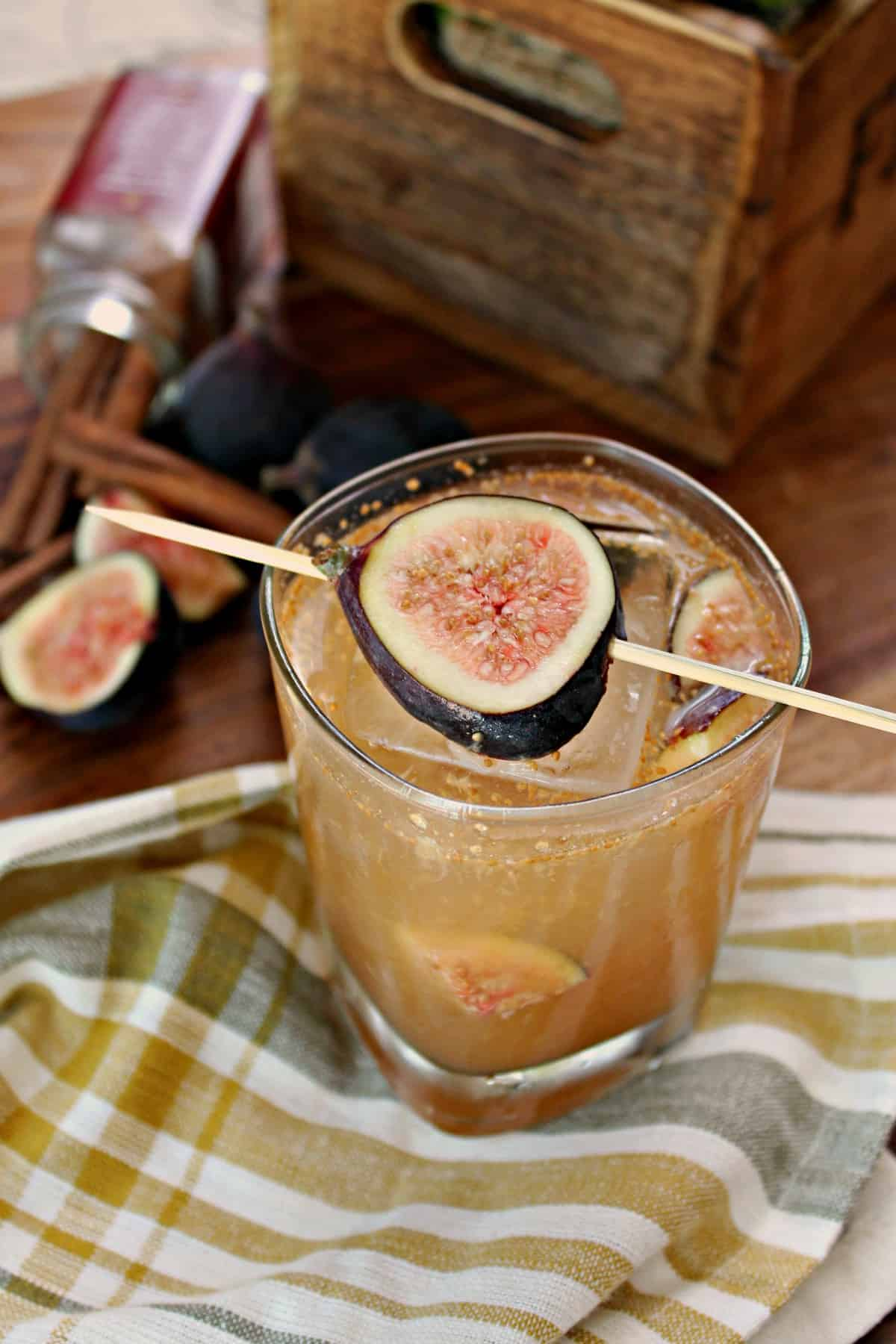 Any bourbon drinker will love this fig cocktail with spicy cinnamon and a sweet honey syrup