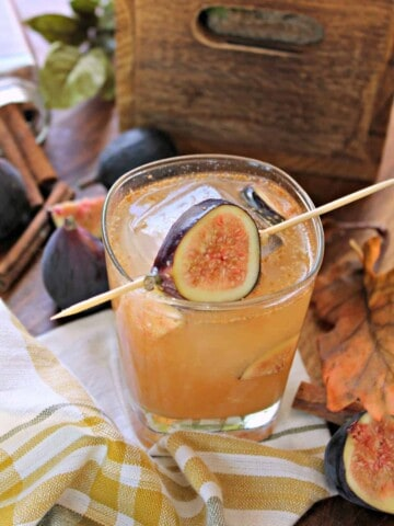 The Fig 'n Cinn Cocktail! If you like simple bourbon cocktails, you might enjoy this spiced concoction, dressed in its fall best with the addition of figs, cinnamon and honey simple syrup. A delicious elixir for any autumn gathering!