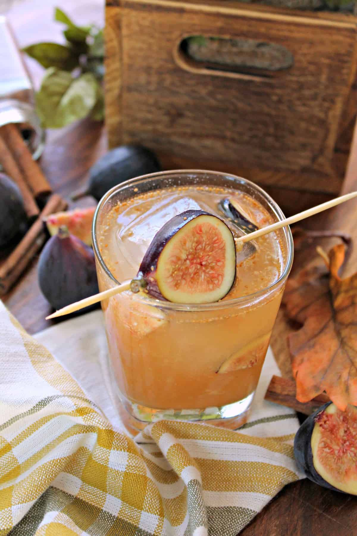 This delicious fig cocktail is a sweet combination of cinnamon, bourbon, and a simple honey syrup. It's a perfect autumn drink