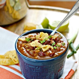 Vegetarian Lentil & Farro Chili! This easy vegetarian chili gets an added boost of nutrition from lentils, and a great texture from the addition of farro. The rich flavor and heartiness of this dish is exactly what you need this fall -- you may be surprised when you don't even miss the meat!