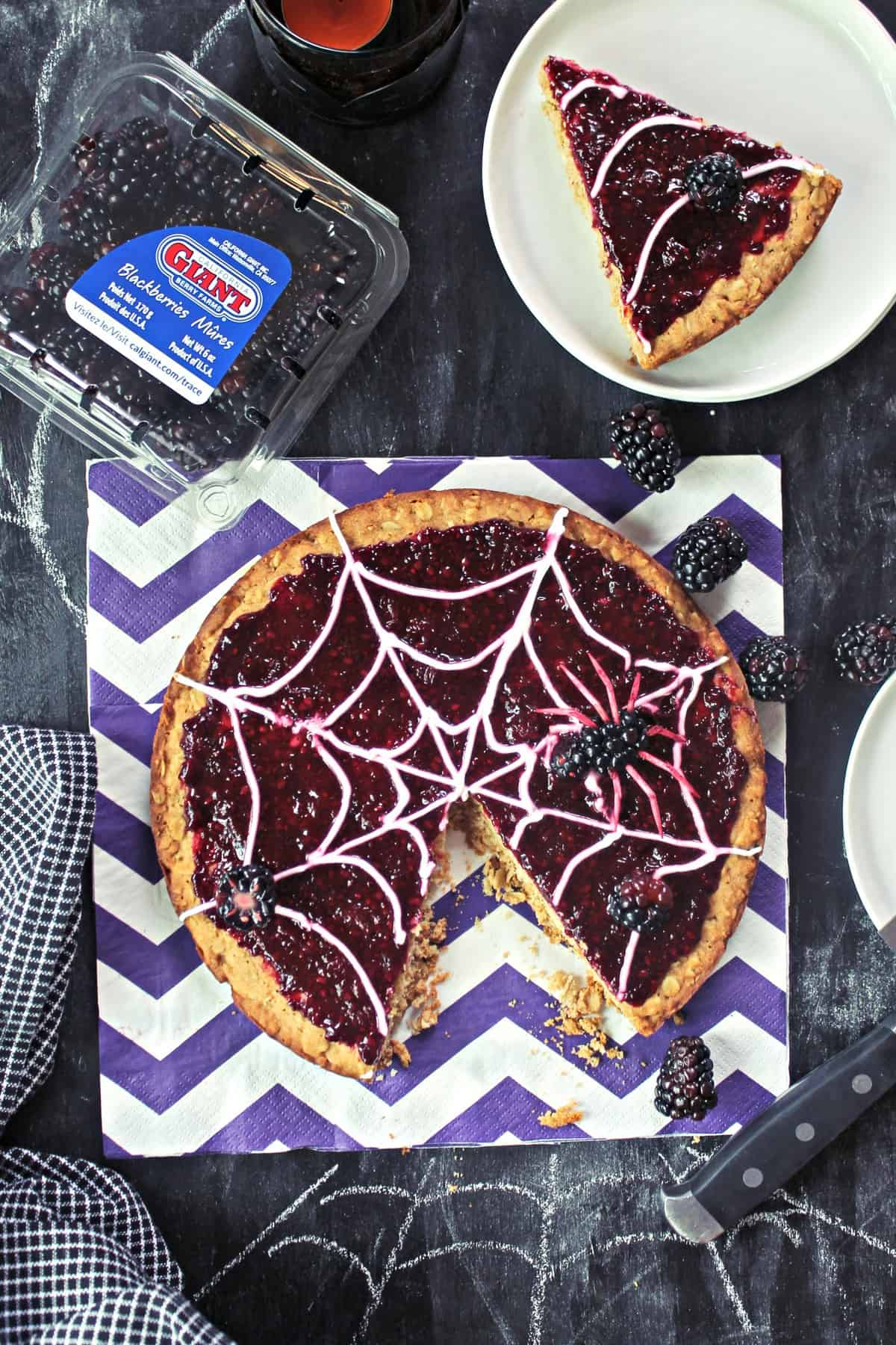 """""""Spider Web"""" Blackberry Dessert Pizza! Looking for a sweet, spooky snack with a little less sugar? This creepy-crawly dessert is honey-sweetened & topped with fresh blackberries for a treat without the sugar rush!"""