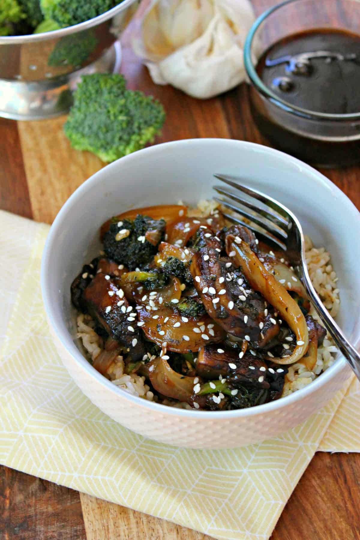 Sweet homemade teriyaki sauce coats tender mushrooms and rice with vegetables.