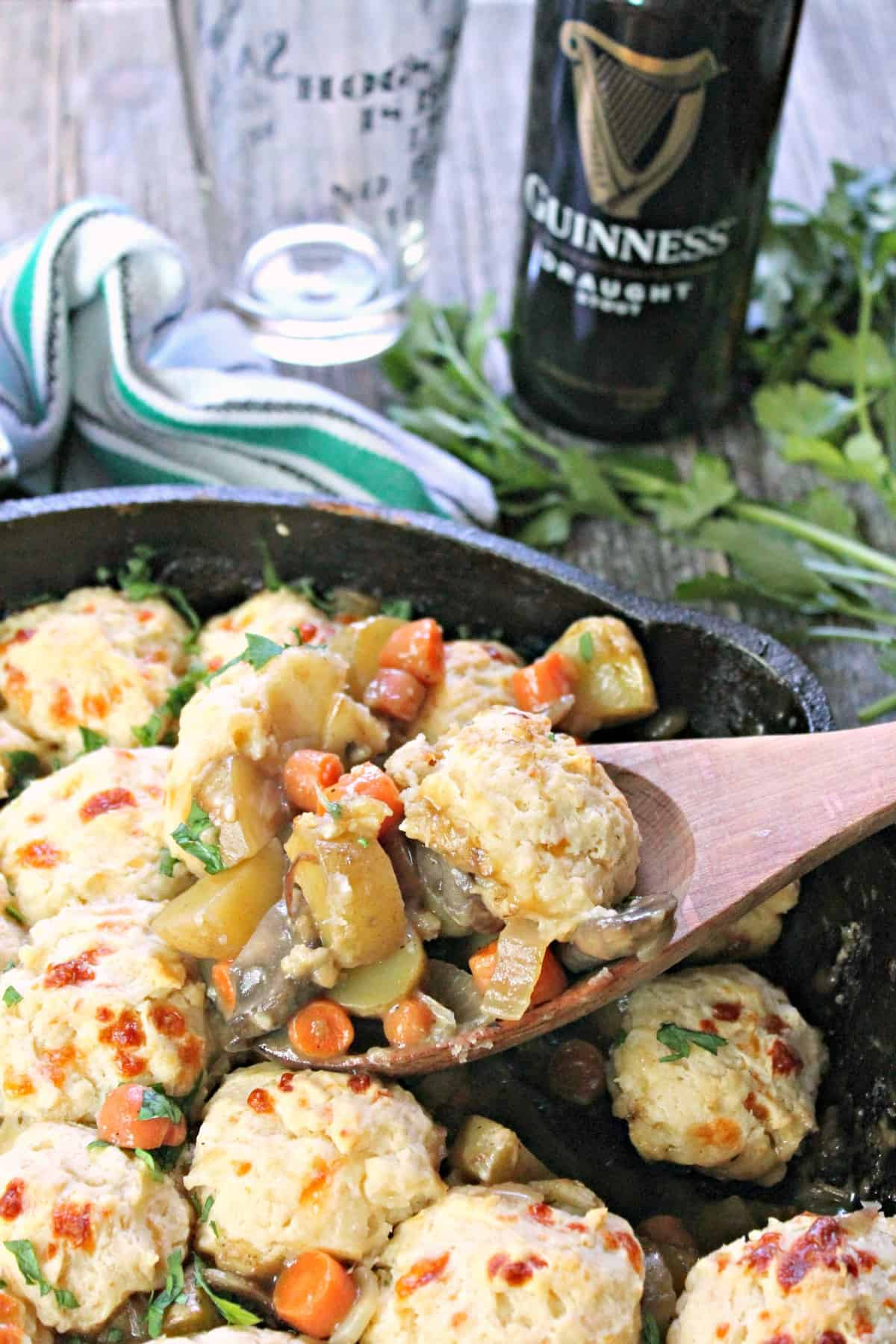 Savory Guinness & Veggie Cobbler! This vegetarian, one pan meal will make all who seek savory Guinness recipes on St. Patrick's Day feel pretty lucky!