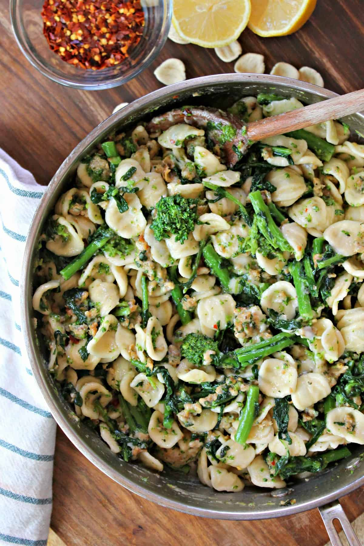 This incredible Orecchiette Pasta dish is bursting with flavor from hearty sausage and perfectly seasoned broccoli rabe
