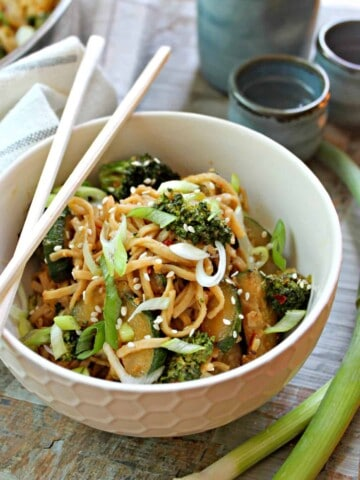 Easy Spicy Peanut Noodles! Need a quick weeknight meal that pleases the masses? This easy peanut noodle recipe comes together in minutes and is a great way to clean out odds and ends in the refrigerator, to boot!