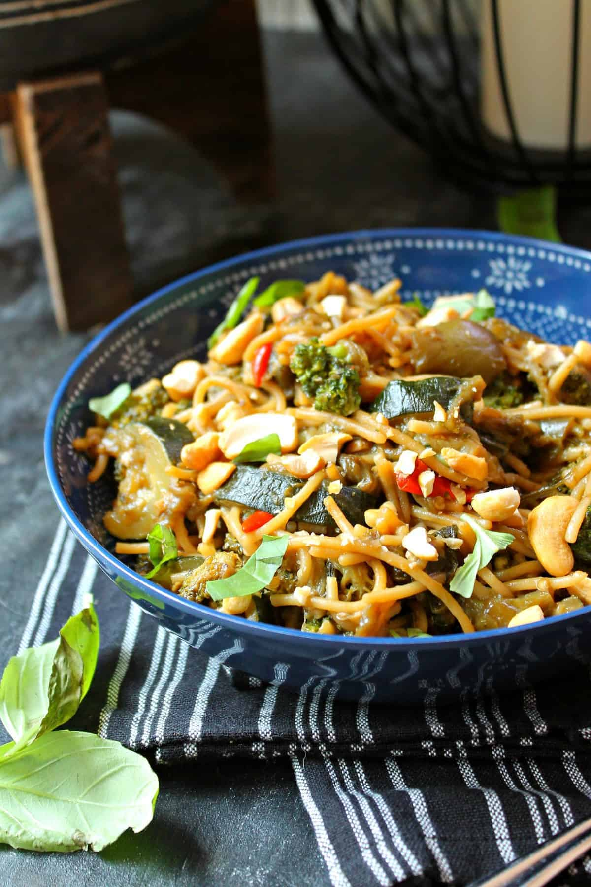 Spicy Thai Eggplant Stir Fry! Spice up your midweek meals with this simple dish made even quicker by using a Trader Joe's freezer item! Turn one little package into a hearty meal by adding just a few extra ingredients.