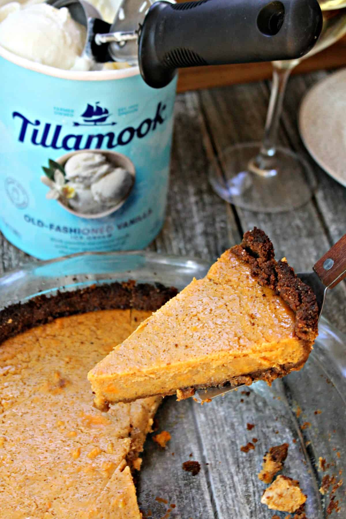 Vanilla Bean Sweet Potato Pie with Gingersnap Cookie Crust! Classic sweet potato pie is upgraded with the addition of vanilla bean paste and baked into a zippy gingersnap cookie crust.