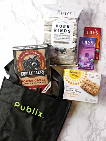 Pantry essentials overhead photo with Publix tote.