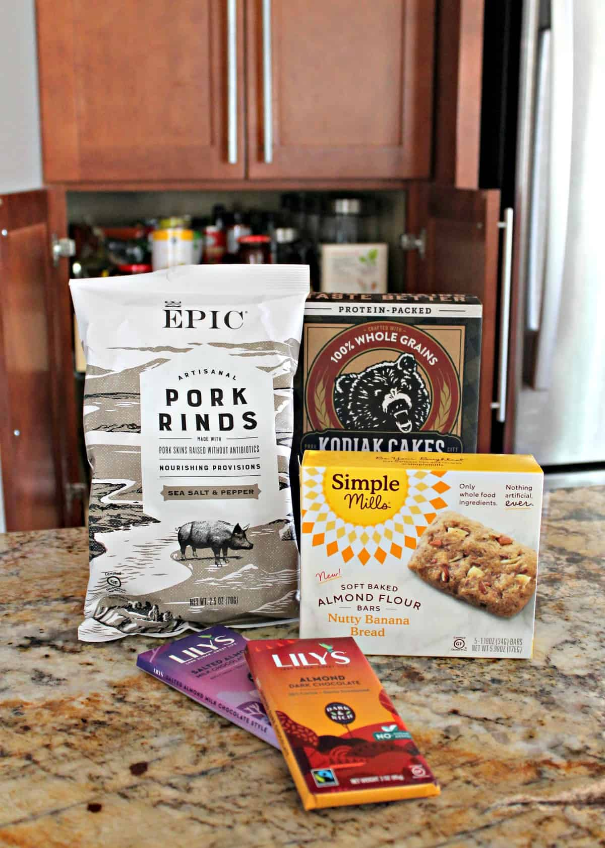 Pantry essentials on countertop.