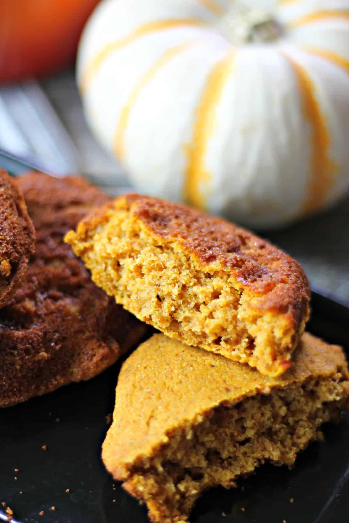 Close up of inside of a piece of Gluten Free Pumpkin Cornbread.