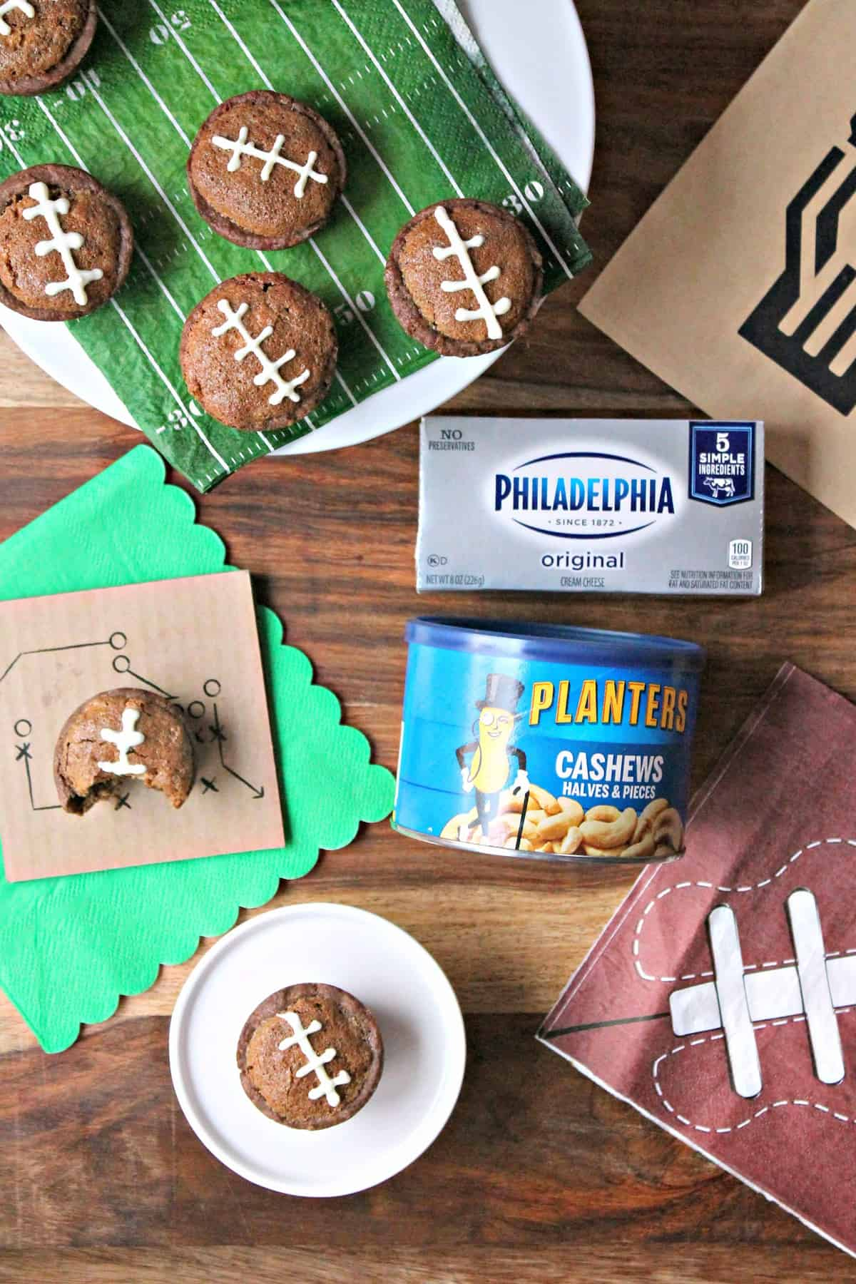 Overhead shot of Football Pie Cookie Cups with products used to make them.