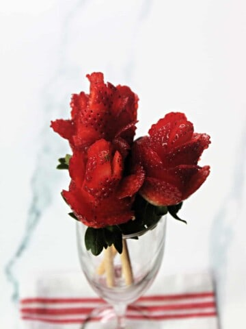 Bouquet of cut strawberry roses in a champagne flute.