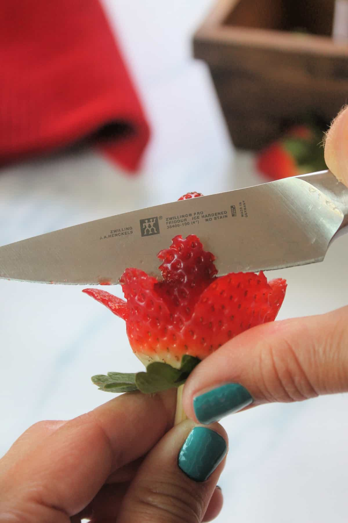Process shot of cutting second tier of petals on strawberry rose.