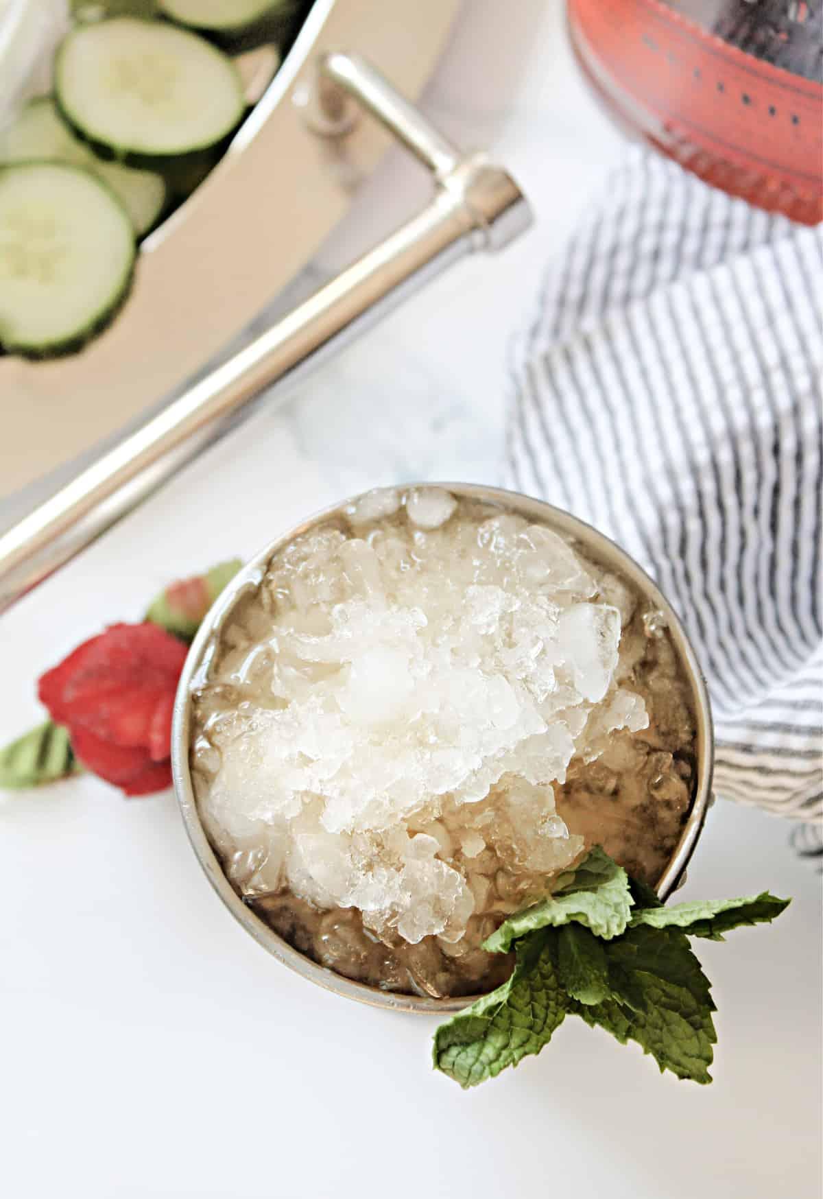 Mint julep ice.