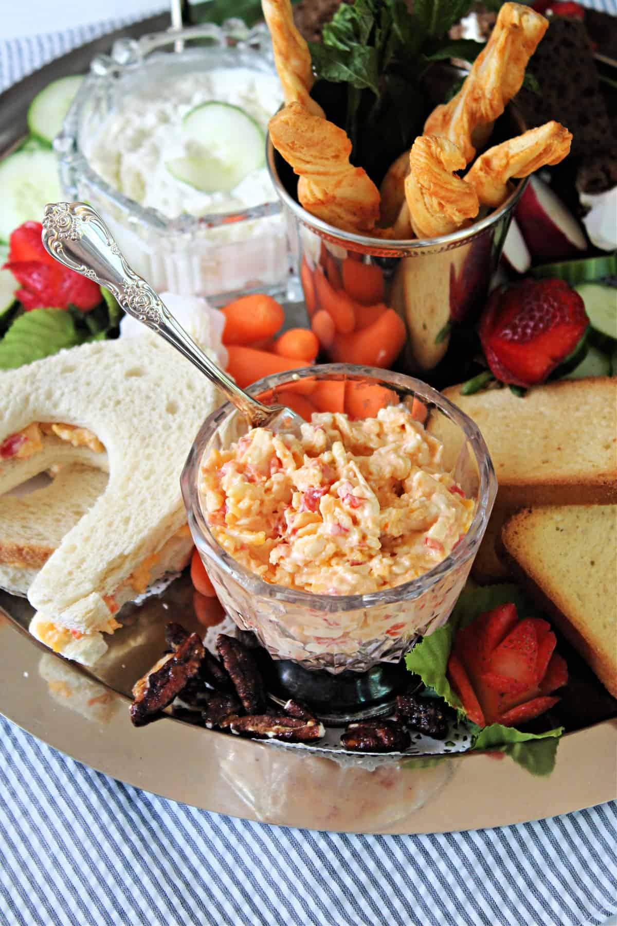 Pimento Cheese in a glass serving dish.