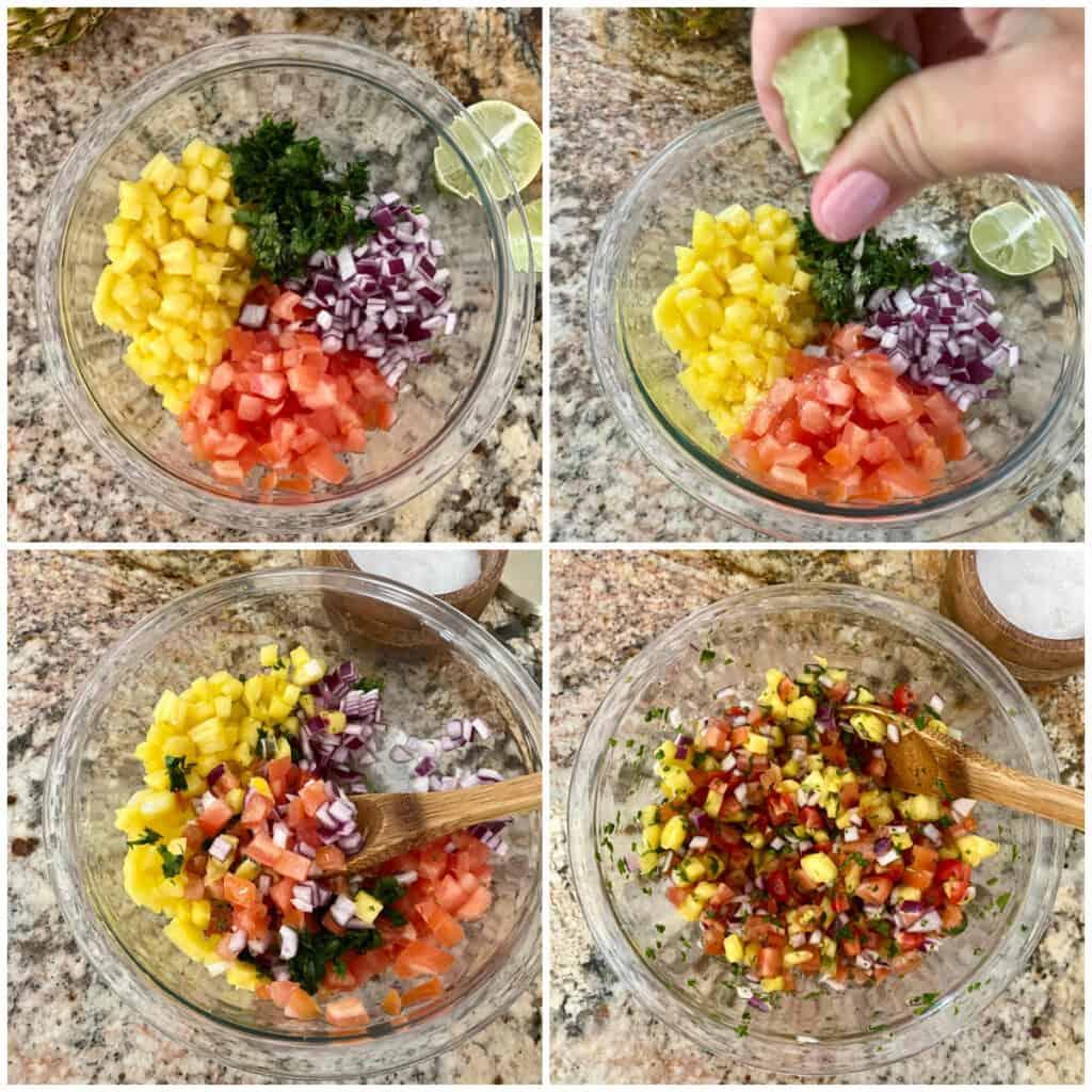Collage of recipe process shots for Pineapple Pico de Gallo.