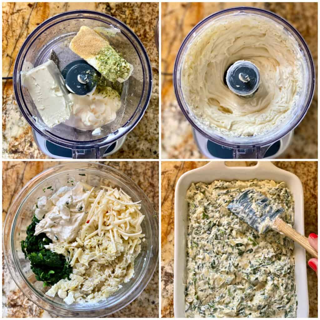 Collage of steps for making Hot Spinach and Artichoke Dip.