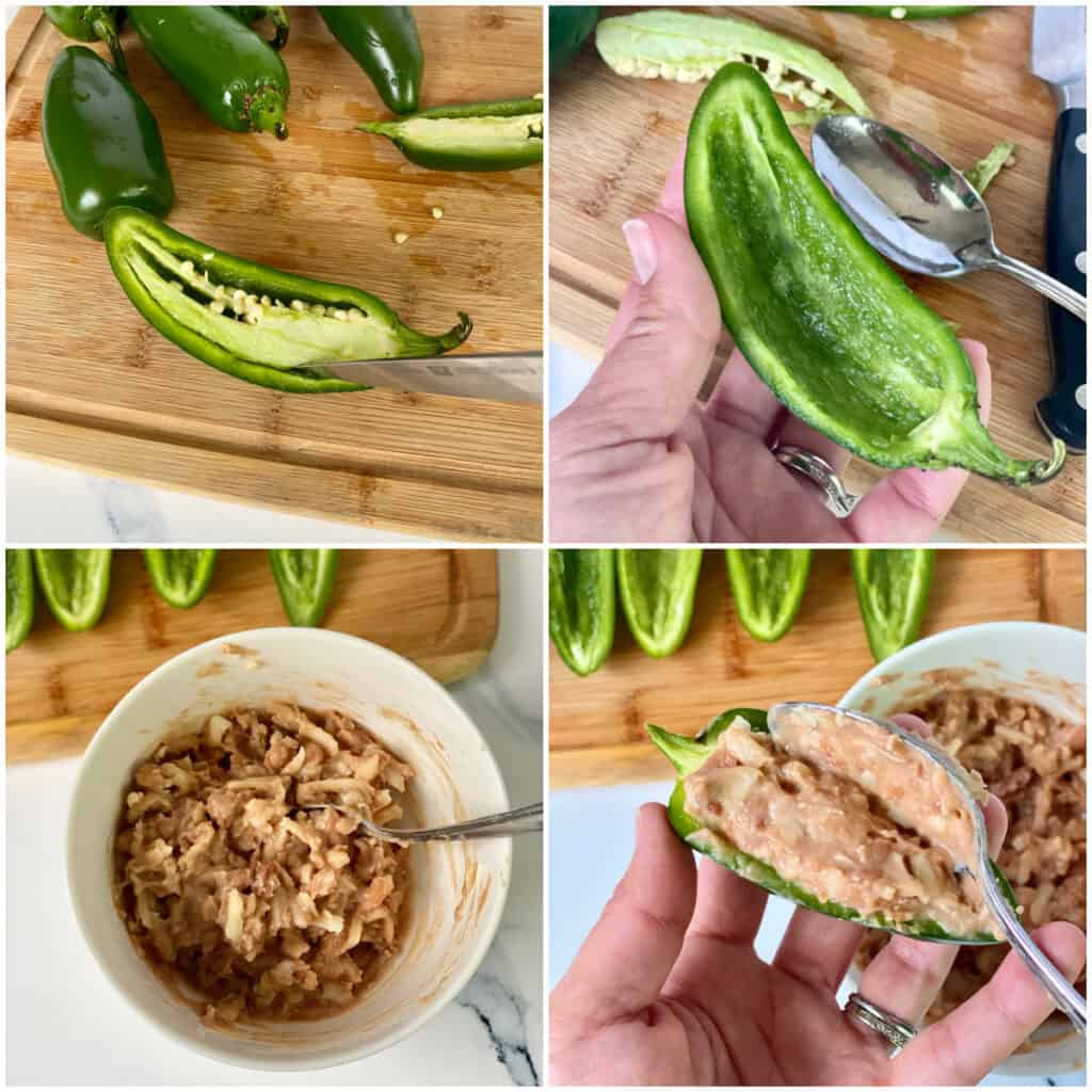 Collage of steps for making Air Fryer Jalapeno Poppers.