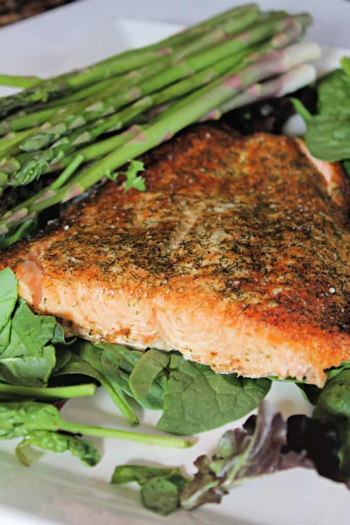 Close up of finished salmon filet to show texture after cooking in air fryer.